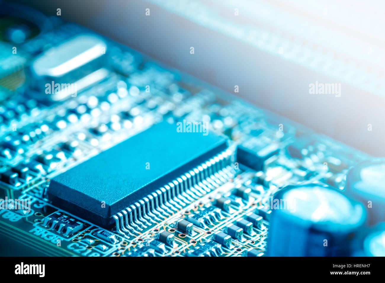 Semiconductor Resistor Transistor Motherboard Stock Photos Basics Of Electronic Circuit Close Up Board Image