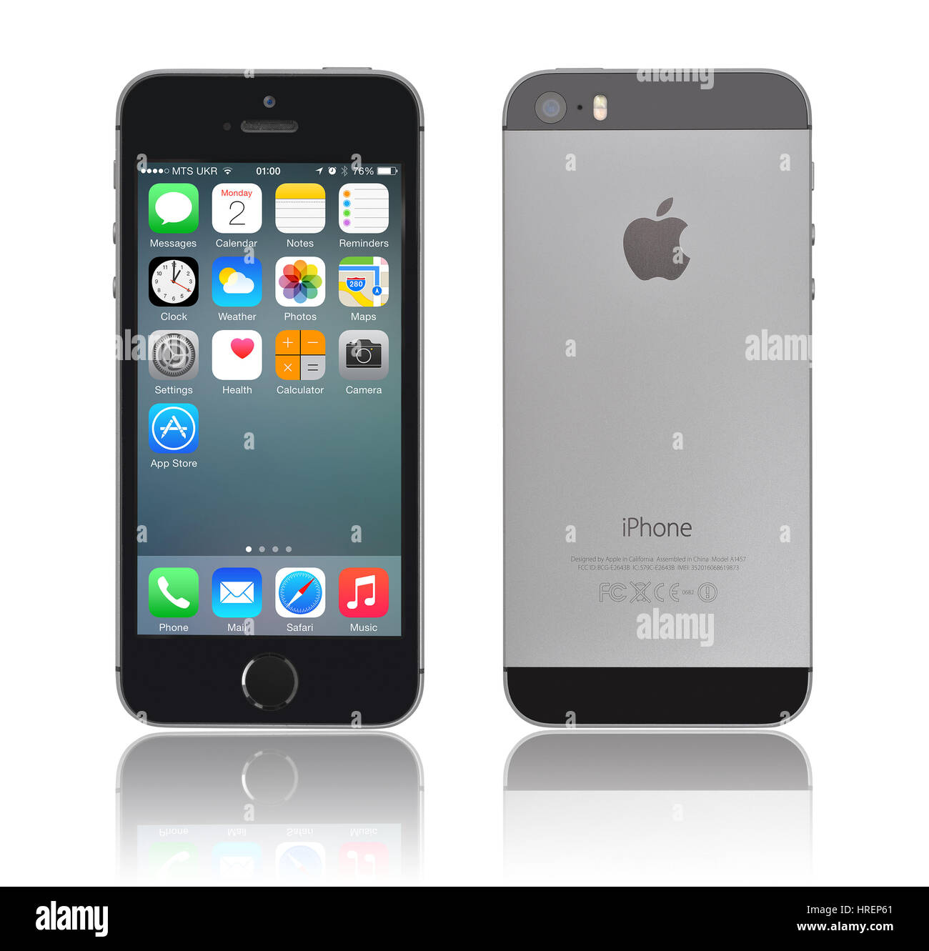 KIEV, UKRAINE - JANUARY 29, 2015: Brand new black Apple iPhone 5s, front and back sides, designed and developed - Stock Image