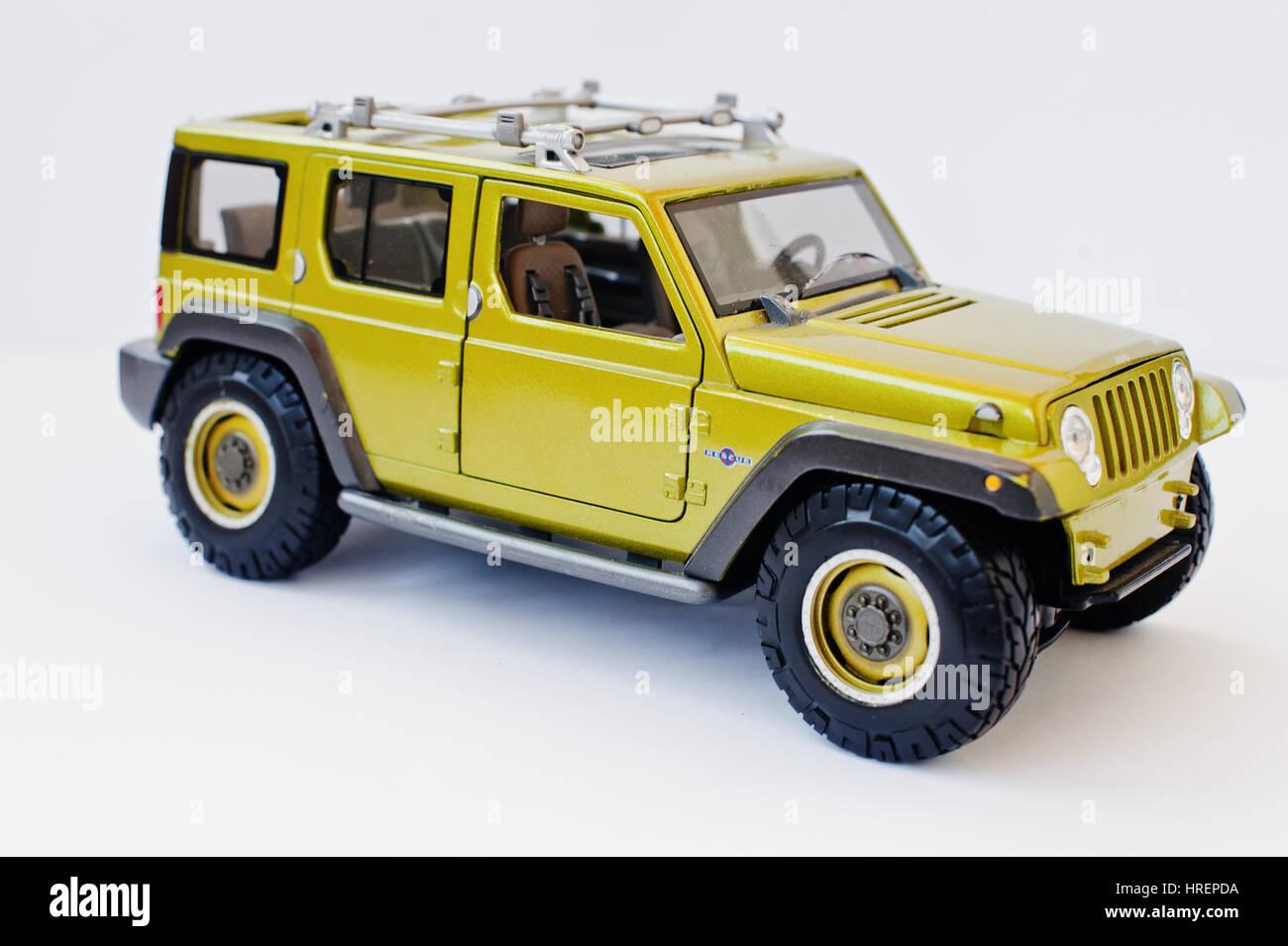 Hai Ukraine March 1 2017 Mini Copy Of Green Toy Car Jeep Stock