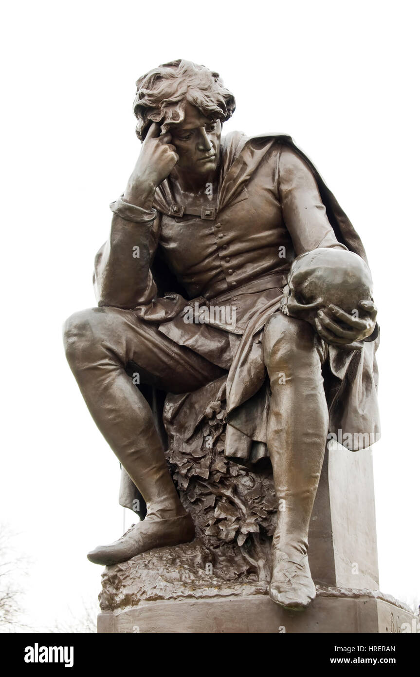 Statue Of Hamlet Stratford Upon Avon England - Stock Image