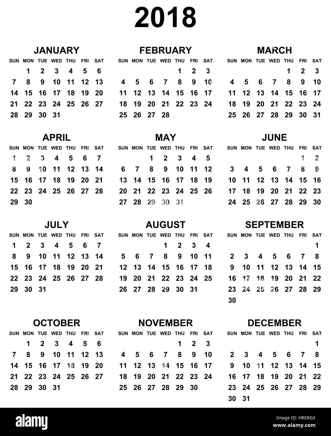 simple editable black and white vector calendar 2018 year sunday first in eps 10