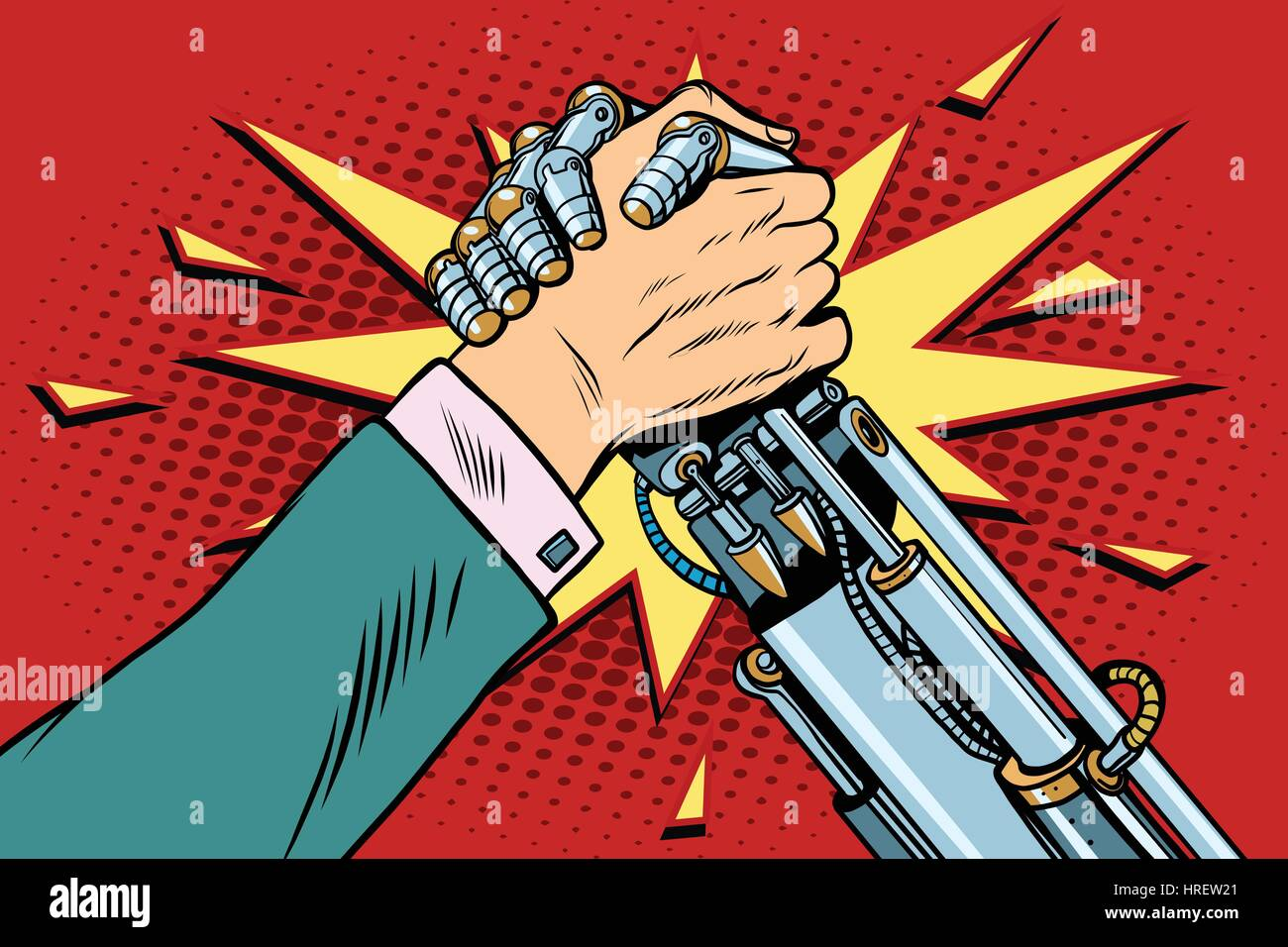 Man vs robot Arm wrestling fight confrontation, pop art retro vector illustration. New technology progress - Stock Image