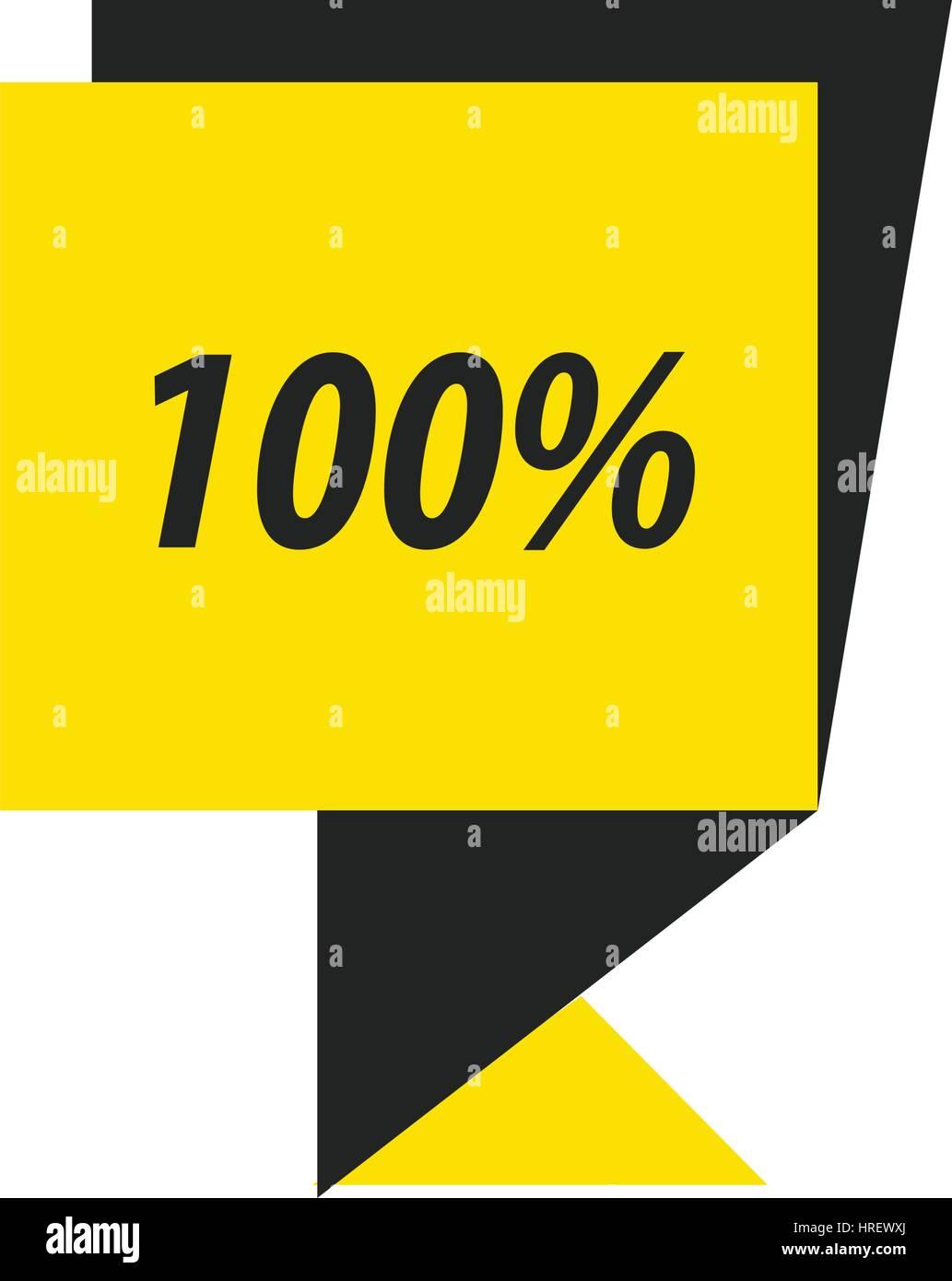label  hundred percent  black, yellow - Stock Vector