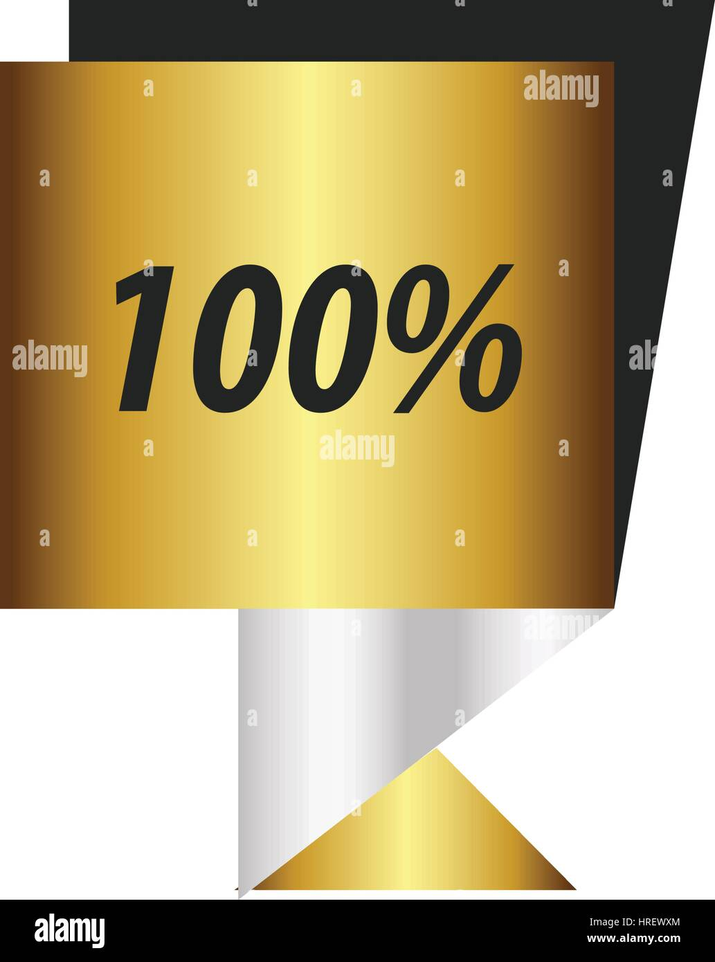 label  hundred percent Gold, silver - Stock Vector