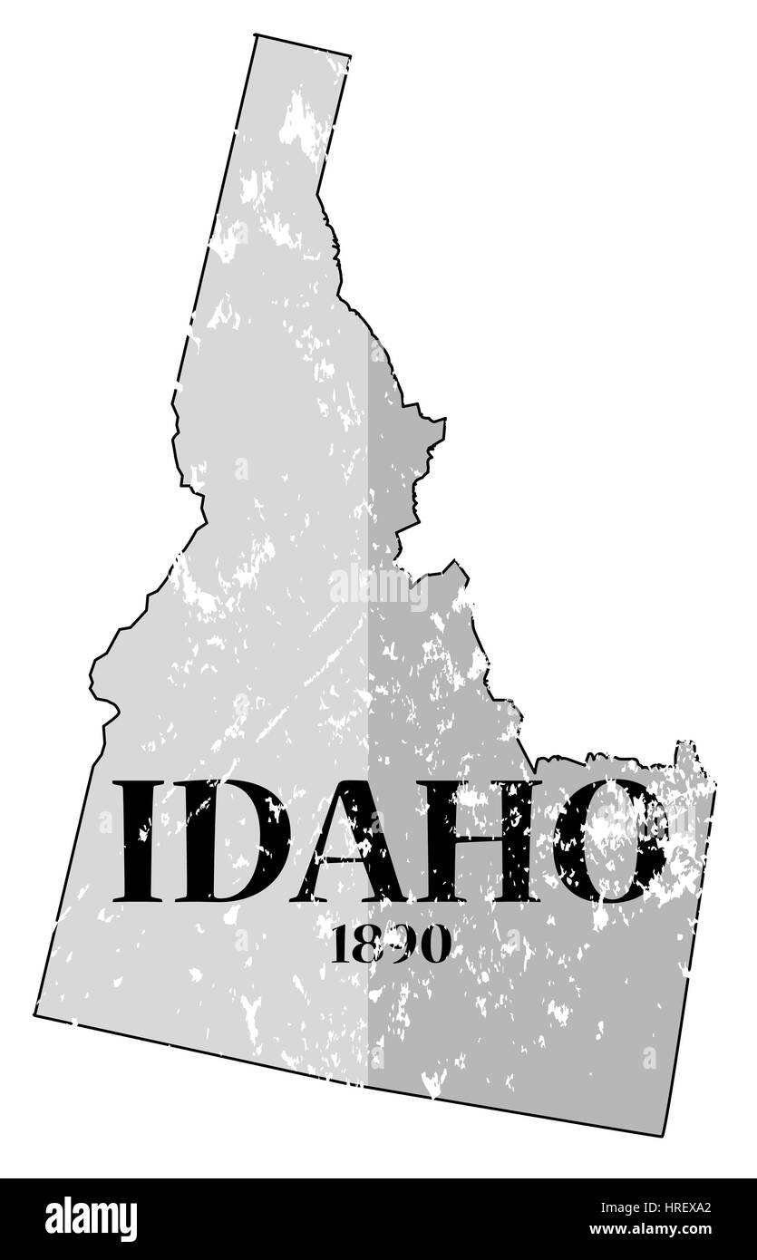 A grunged Idaho state outline with the date of statehood isolated on a white background - Stock Image