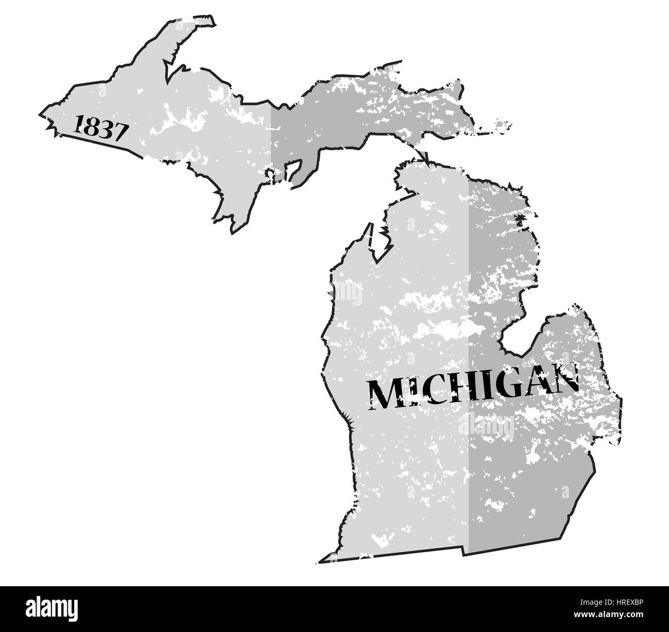 Michigan State Map Black And White Stock Photos Images Alamy
