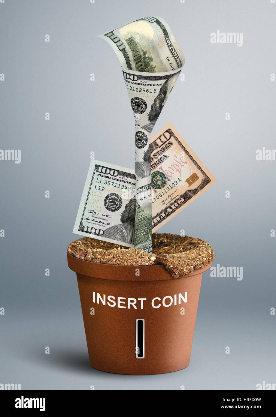 finance creative concept, money growth in pot - Stock Image