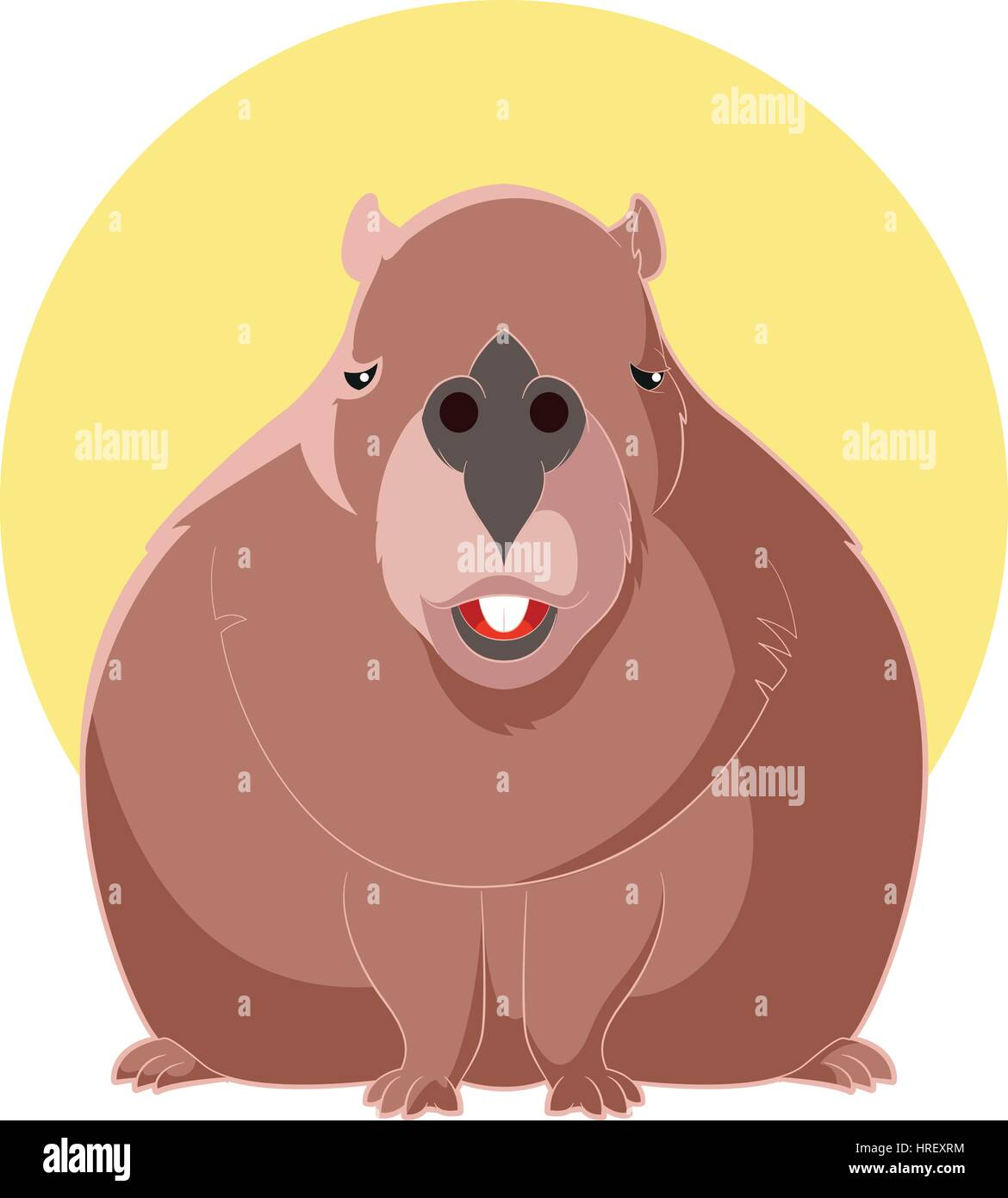 Cartoon Smiling Capybara Stock Vector Art Illustration Vector