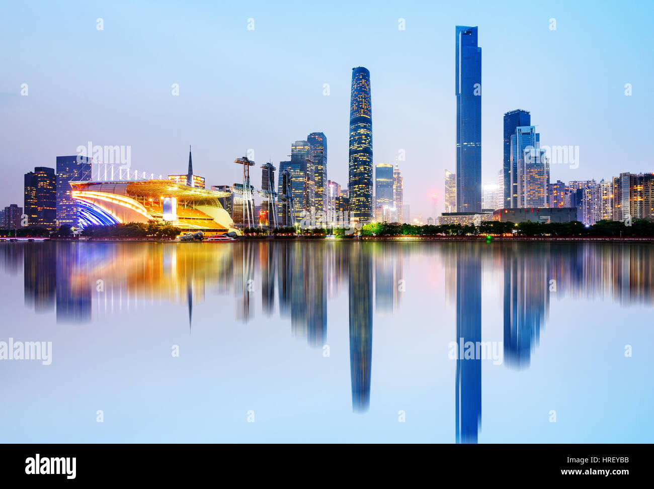 Modern urban night view, Pearl River New City, Guangzhou, China - Stock Image