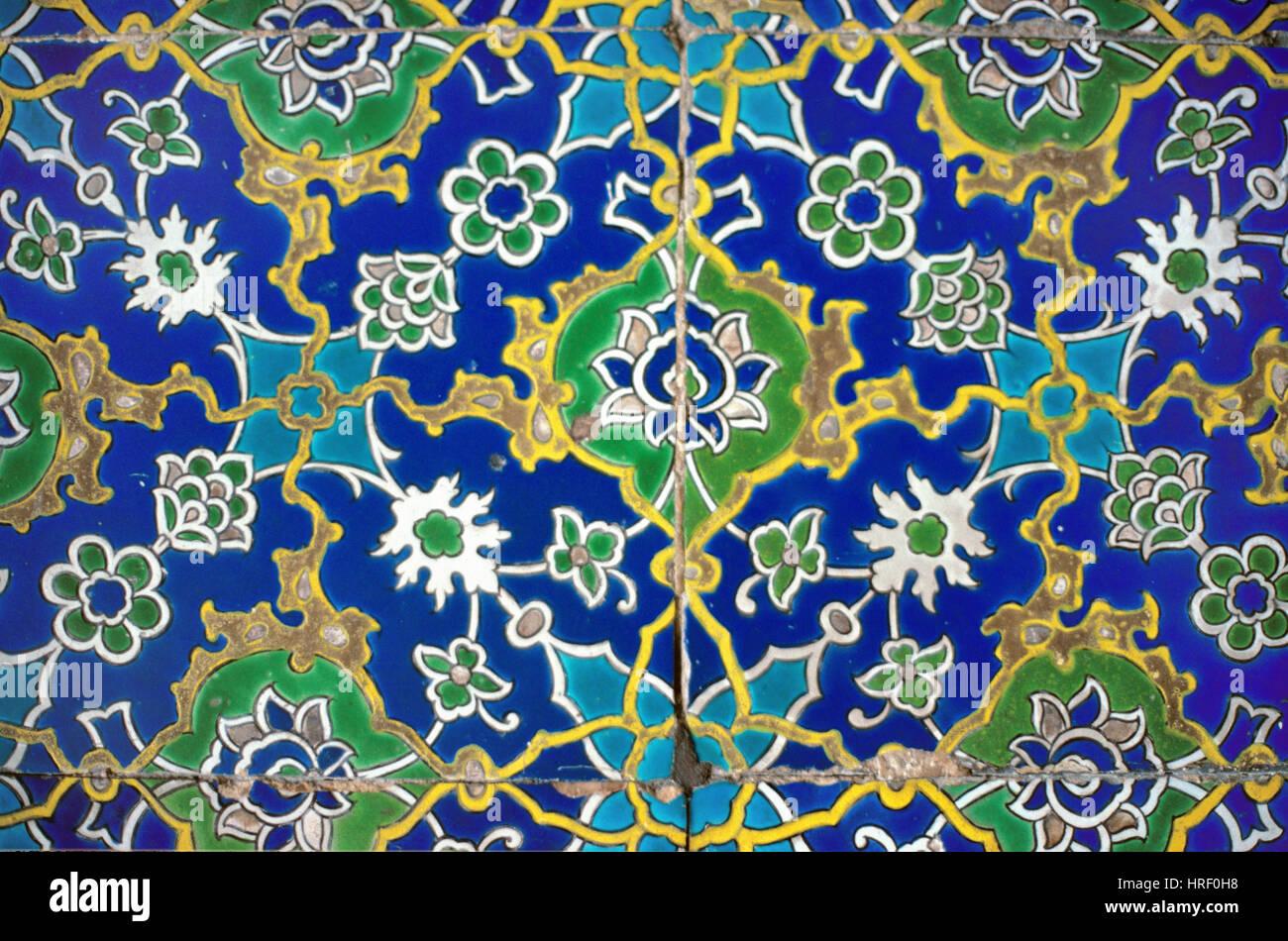 Iznik Wall Tiles at Entrance to the Throne Room Topkapi Palace Istanbul Turkey - Stock Image