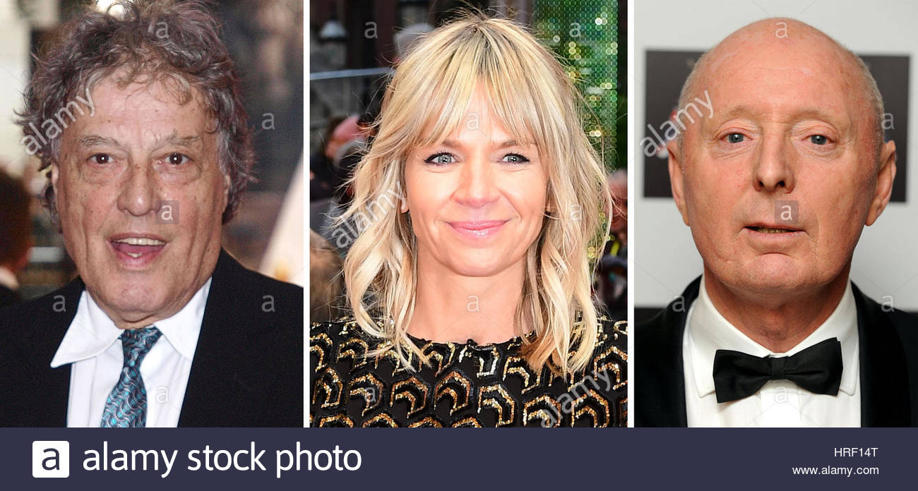 Undated file photos of (left to right) Tom Stoppard, Zoe Ball and Jasper Carrott. - Stock Image