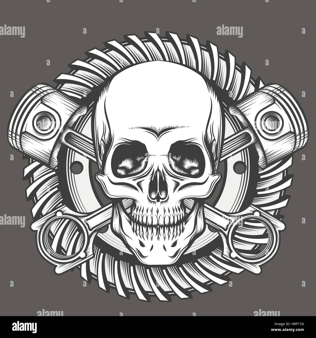 41351a2287cef Vintage Skull With Crossed Piston and Motorcycle Gear Emblem. Biker Club or  Motorcycles workshop design element. Vector illustration in engraving styl