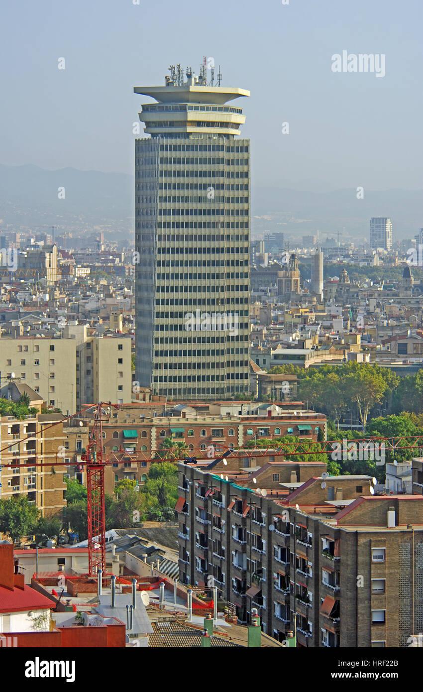Sky Scraper, View From, Montjuic, Barcelona, Spain, - Stock Image