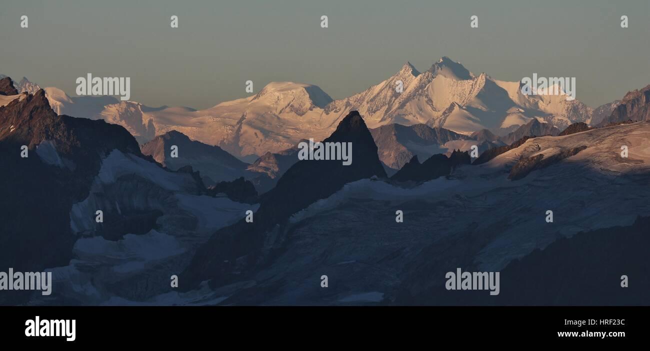 Mischabel range seen from mount Titlis, Switzerland. Dom, highest mountain in Switzerland. - Stock Photo