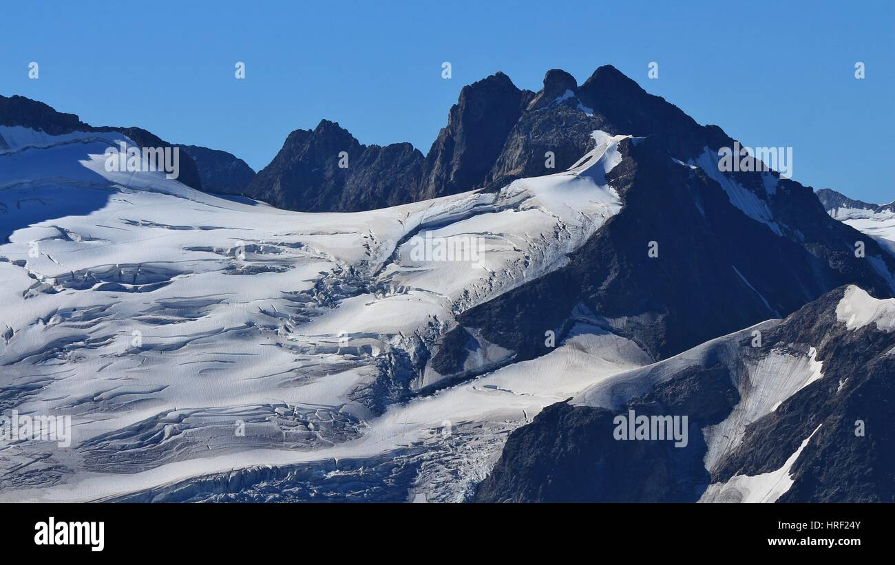 Big crevasses in the ice of the Trift glacier. View from mount Titlis, Switzerland. - Stock Photo