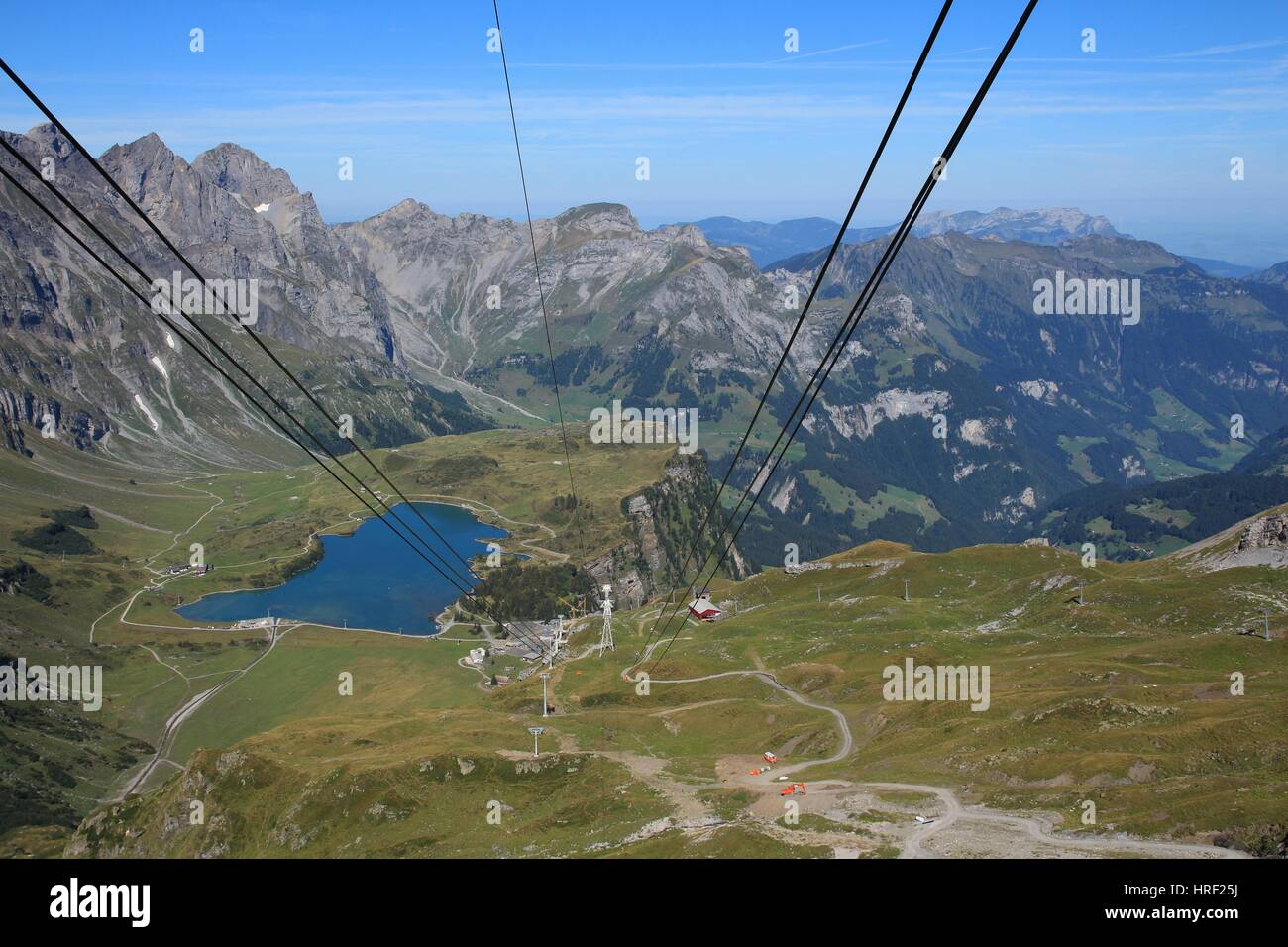 Lake Trubsee, view from the summit station of the Titlis cable car. Popular travel destination in the Swiss Alps. Stock Photo