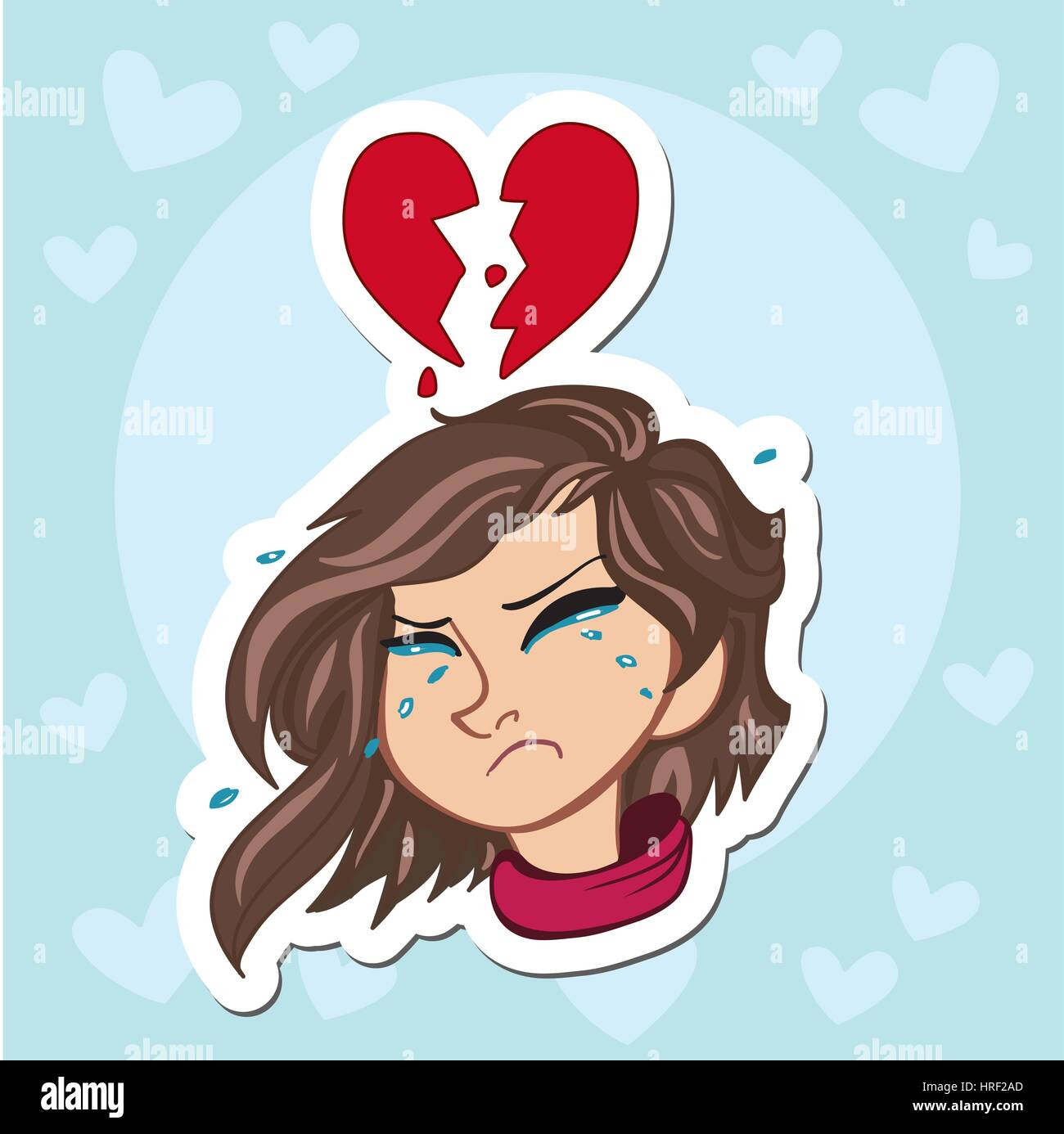 Lonely and sad little girl crying with ponytails and pink sweater - Stock Vector