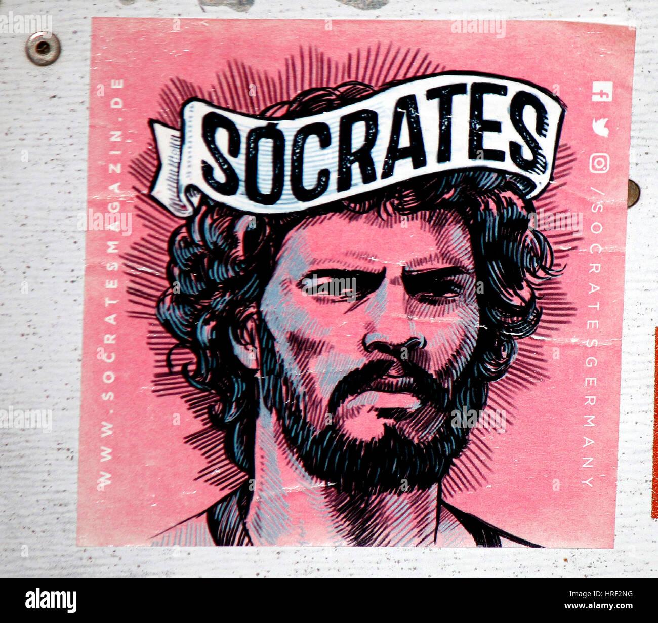 Aufkleber/ Graffity: der brasilianische Fussballer der 80er Jahre Socrates, Berlin. - Stock Image