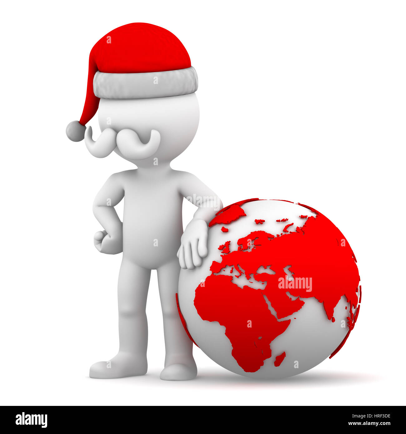 Santa with earth globe. Isolated on white background - Stock Image