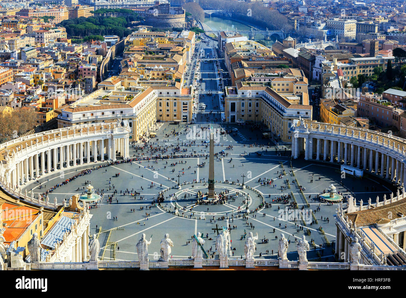 High View over St Peters square, Piazza di San Pietro, Vatican City, Rome, Italy - Stock Image