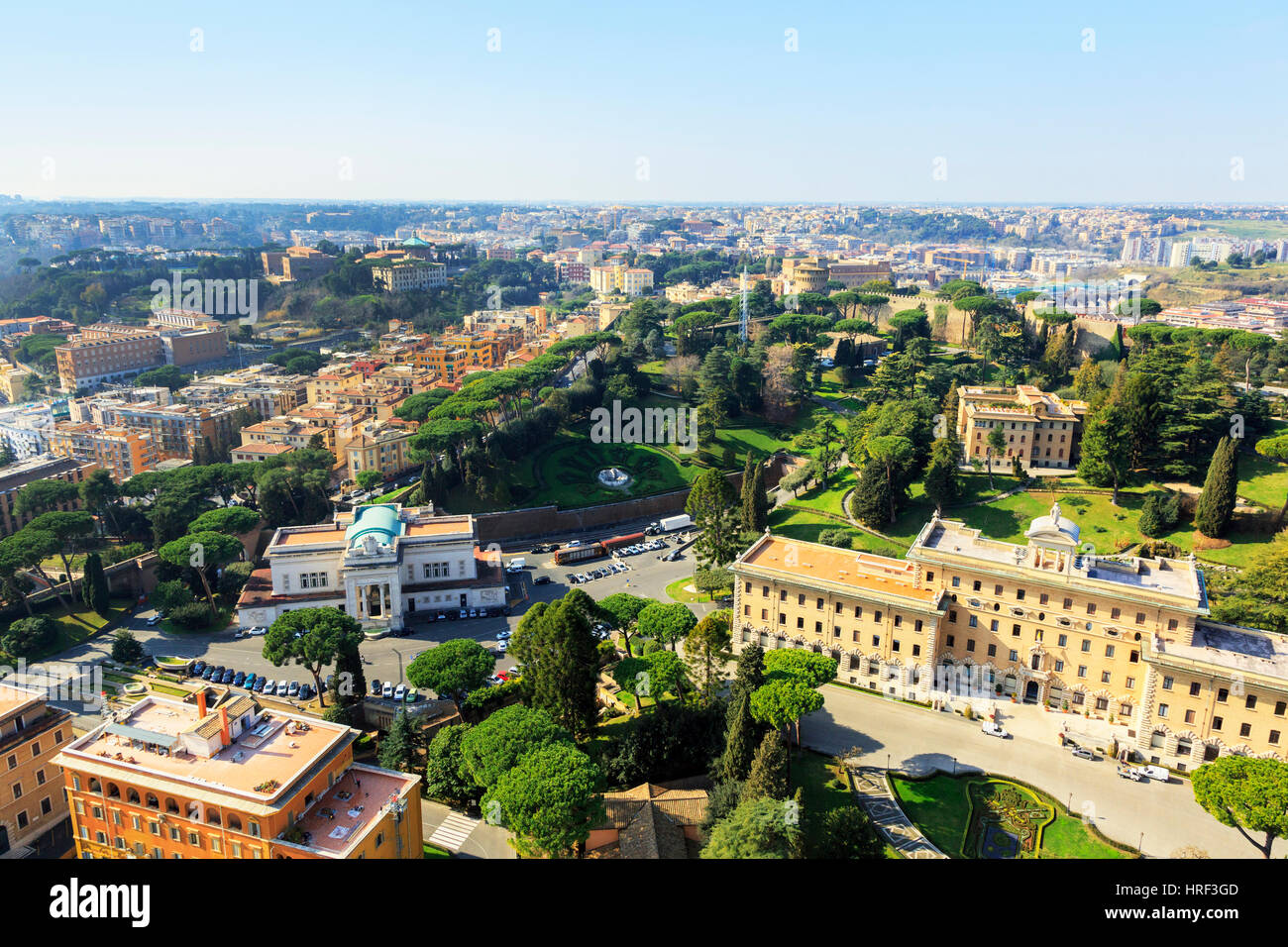 View over the Vatican garden with Stazione Ferroviaria Vaticano, Vatican railway station, the Palace of Justice - Stock Image