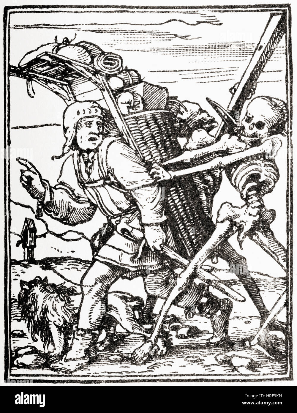 """The Peddler, woodcut designed by Hans Holbein the Younger, (1497-1543) for the """"Dance of Death'series, 1523–26. - Stock Image"""
