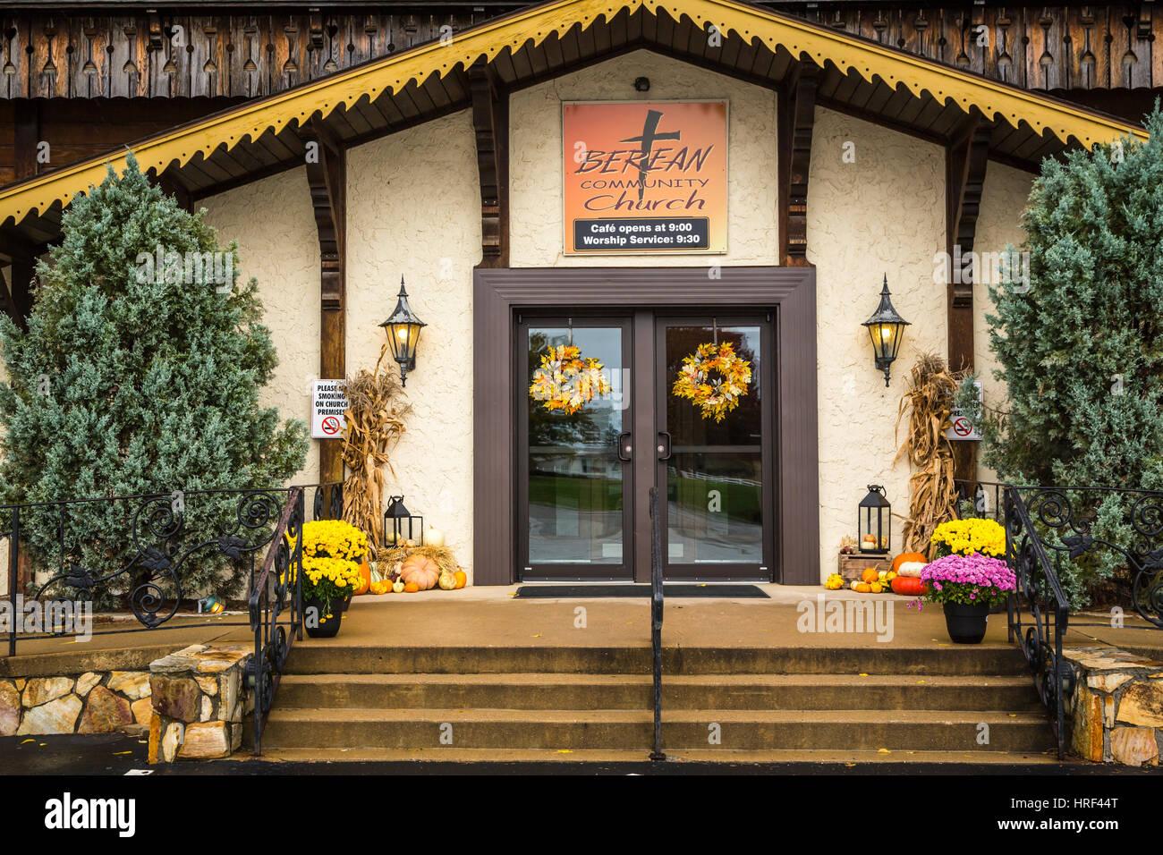 The Berean Community Church building in Winesburg, Ohio, USA. - Stock Image