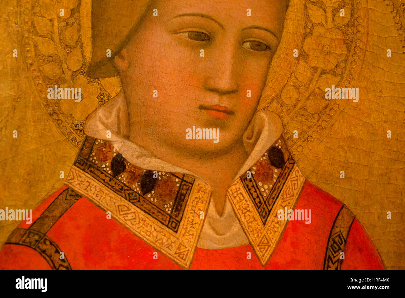 St Stephen, a 14th century portrait by an imitator of the Italian painter Bernardo Daddi at Huis Bergh, s-Heerenberg, - Stock Image