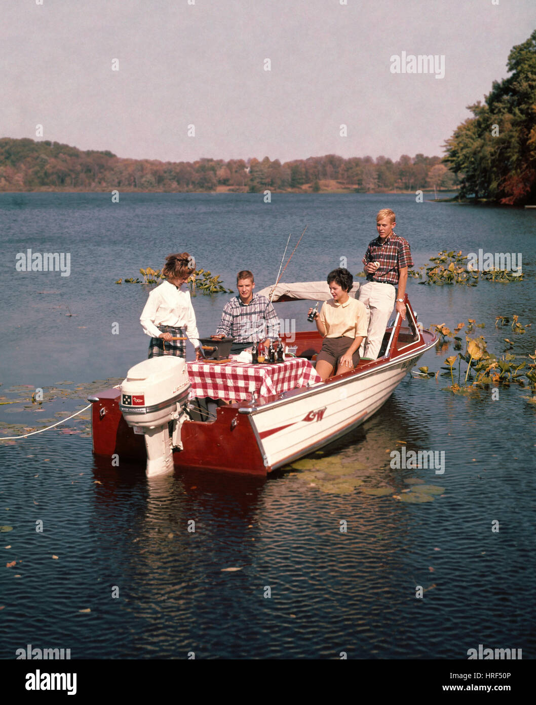 Picnic On a Boat, 1950's Americana - Stock Image