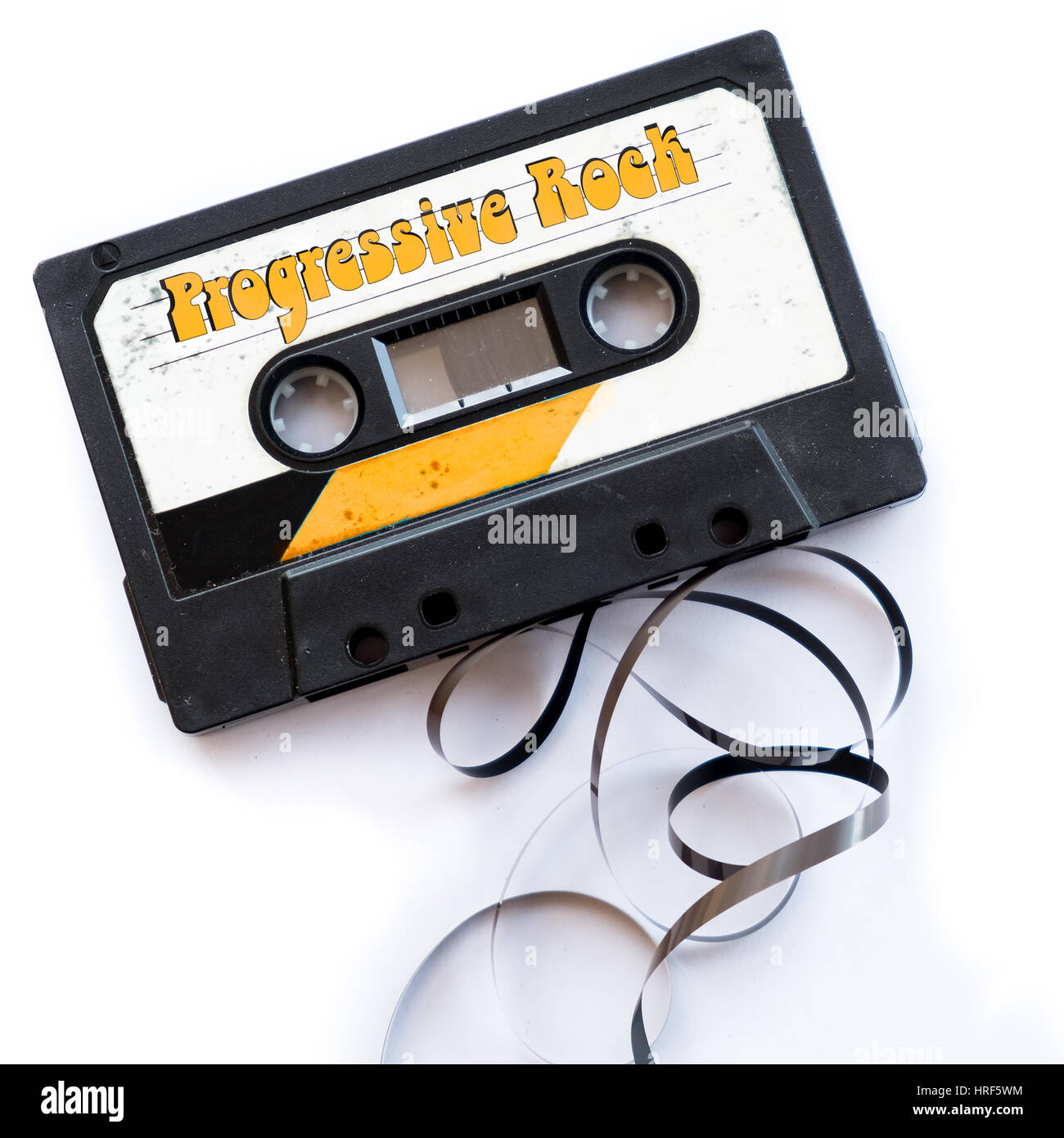 musical genres audio tape label - Stock Image