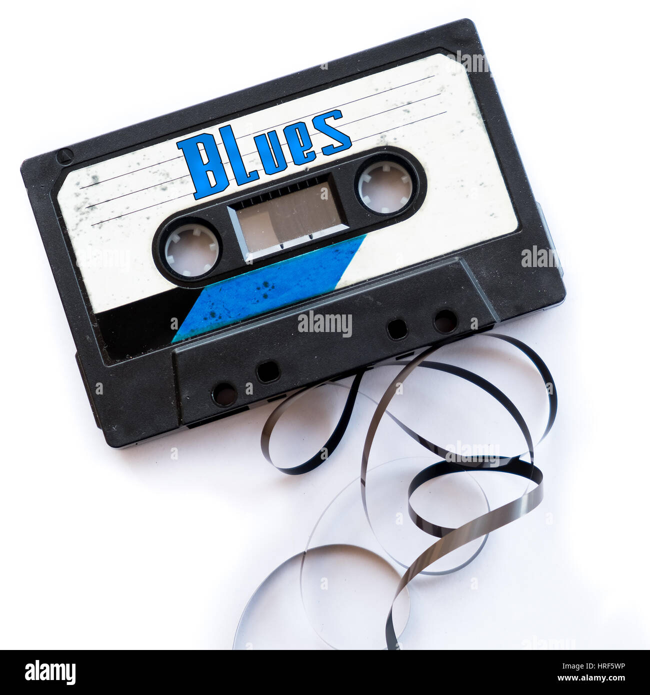 blues musical genres audio tape label - Stock Image