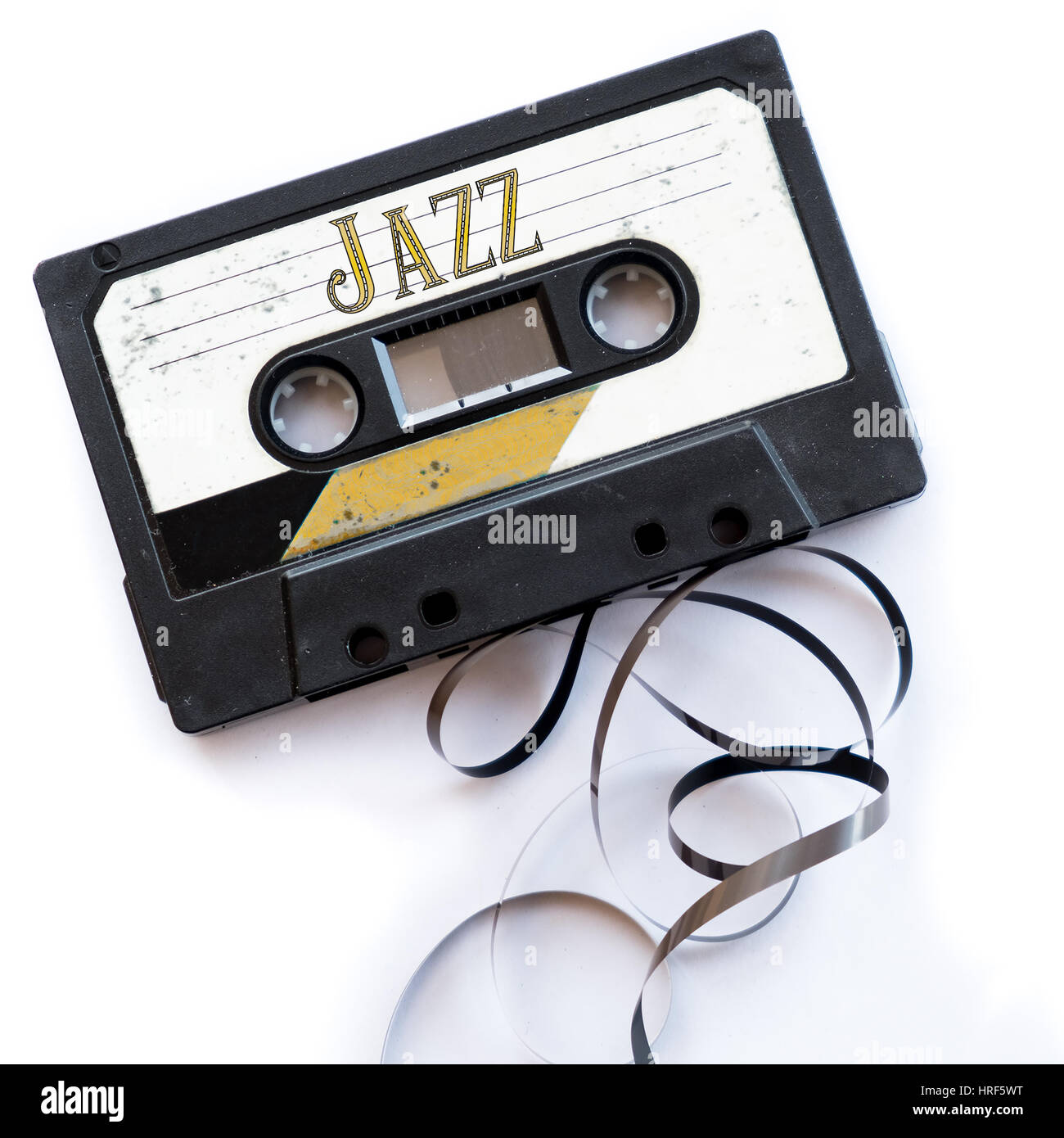 jazz musical genres audio tape label - Stock Image