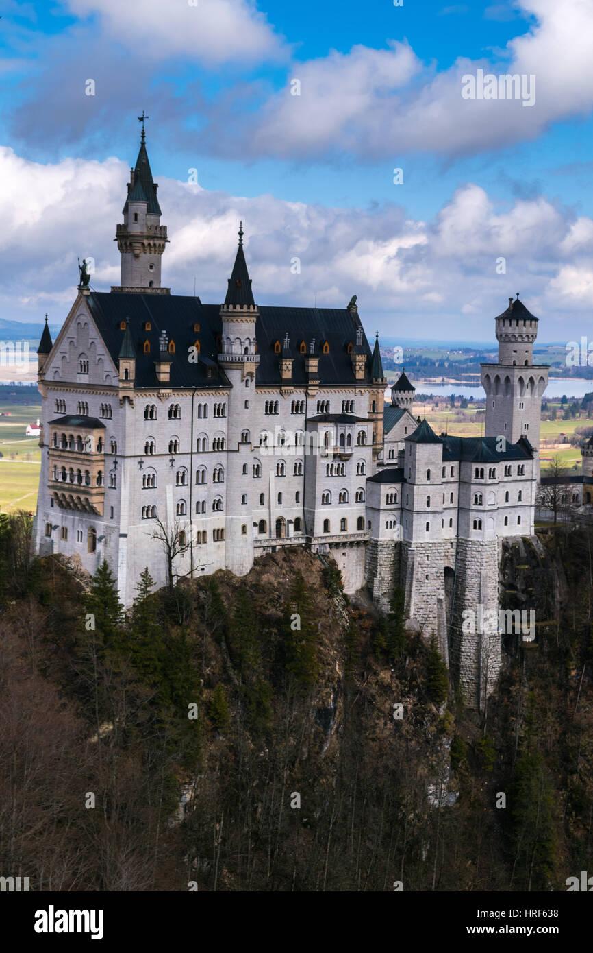 Neuschwanstein Castle in winter landscape, Fussen, Germany, Bavariam Europe - Stock Image