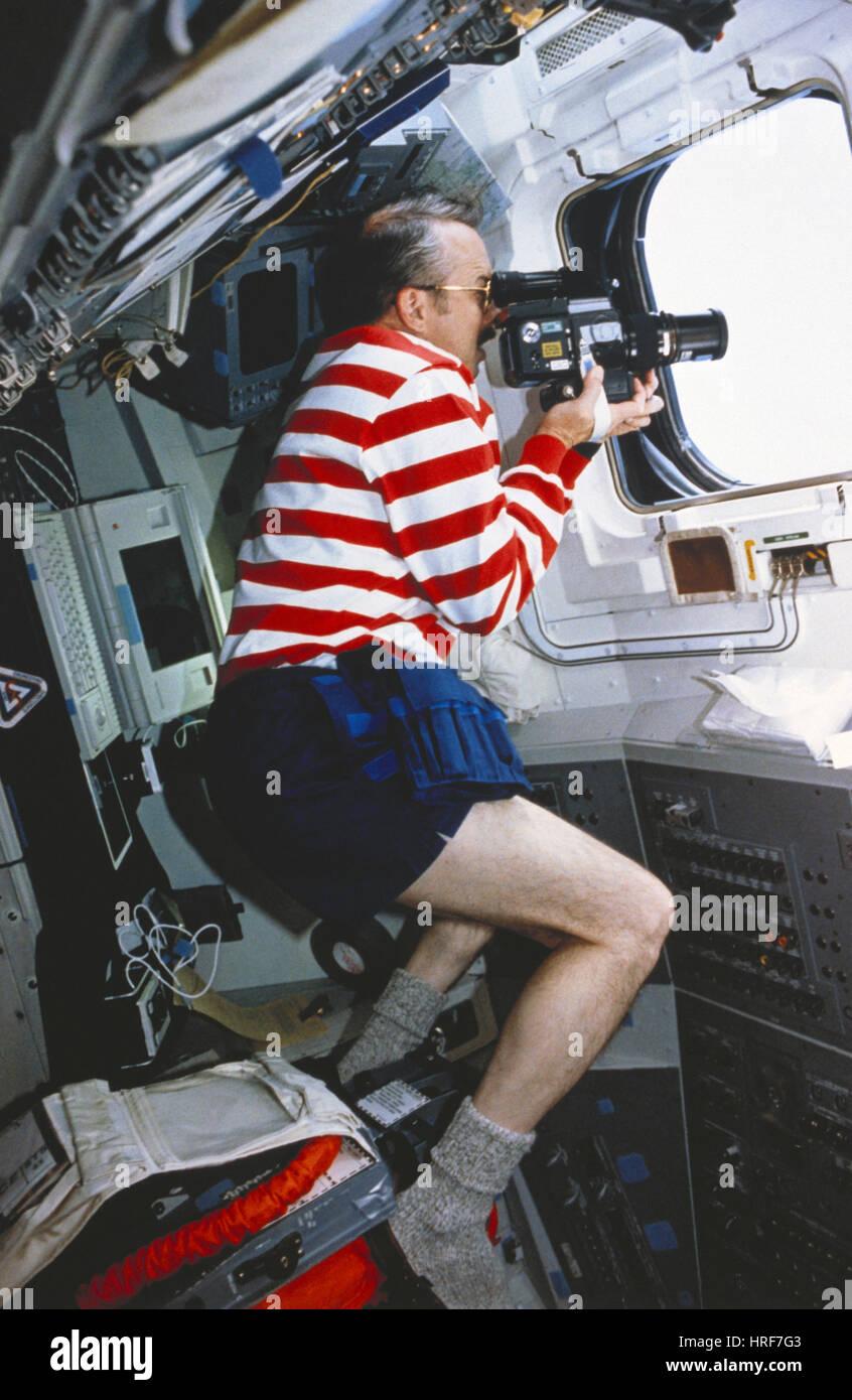 STS-43, Astronaut Taking Photos, 1991 - Stock Image