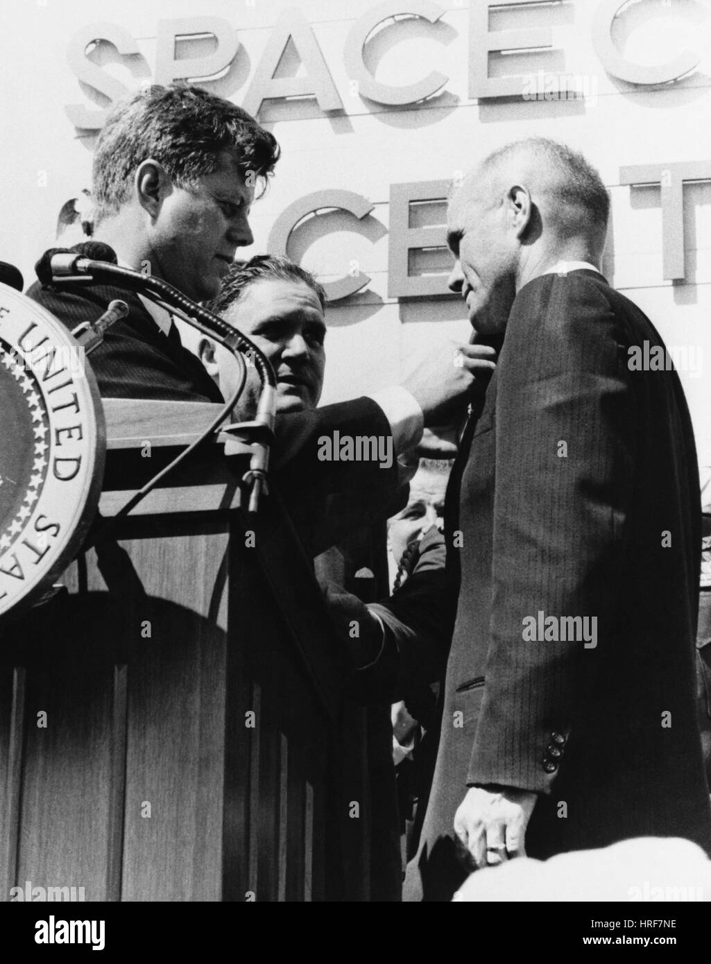Kennedy Pins Medal on Astronaut John Glenn - Stock Image