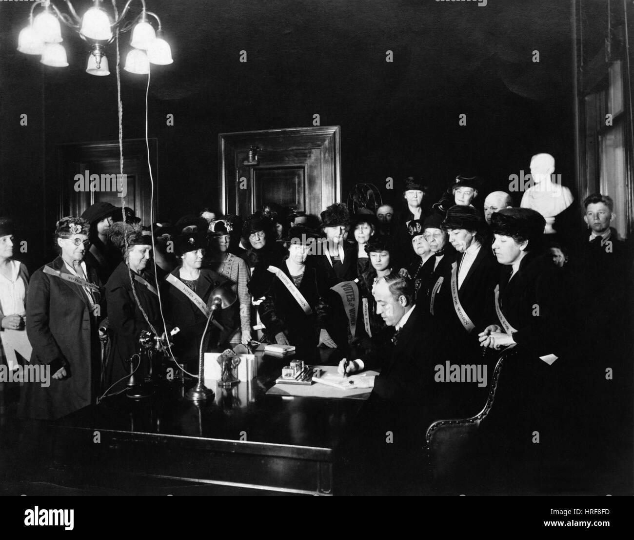 Nineteenth Amendment Signing - Stock Image