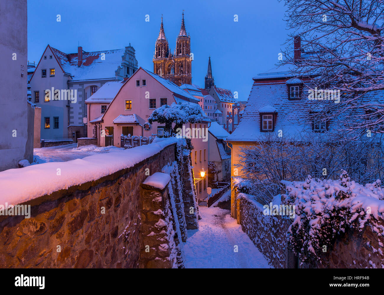 Historic centre in winter, view to the cathedral with stairs Rote Stufen, Dawn, Meissen, Saxony, Germany - Stock Image