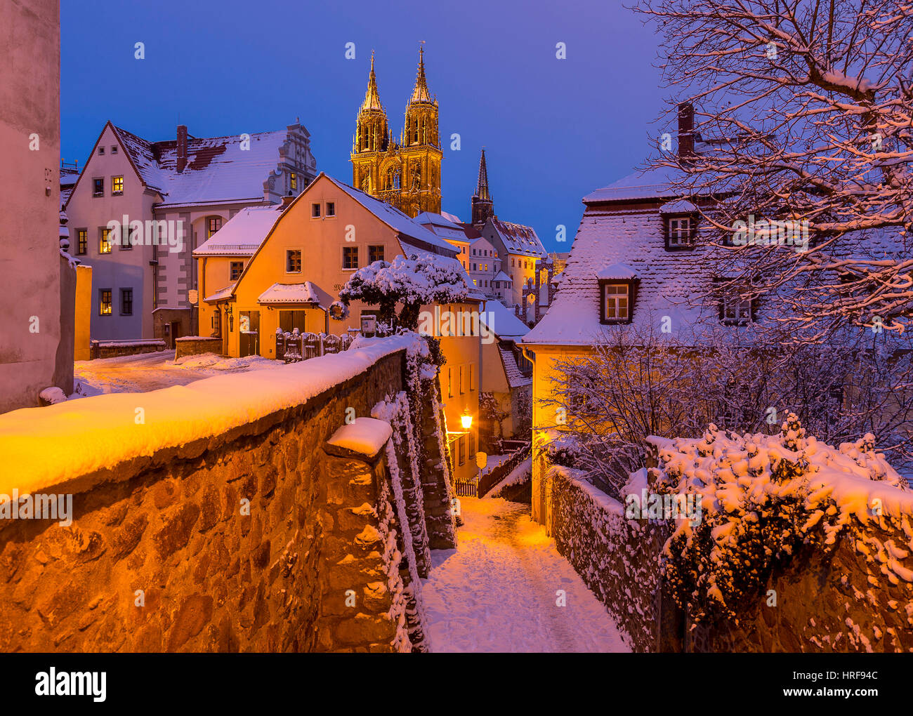 Historic centre in winter, view the cathedral with stairs Rote Stufen, evening mood, Meissen, Saxony, Germany - Stock Image