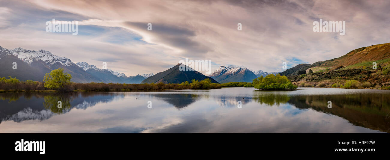 Glenorchy lagoon, at back mountains, Glenorchy, in Queenstown, Southland, New Zealand - Stock Image