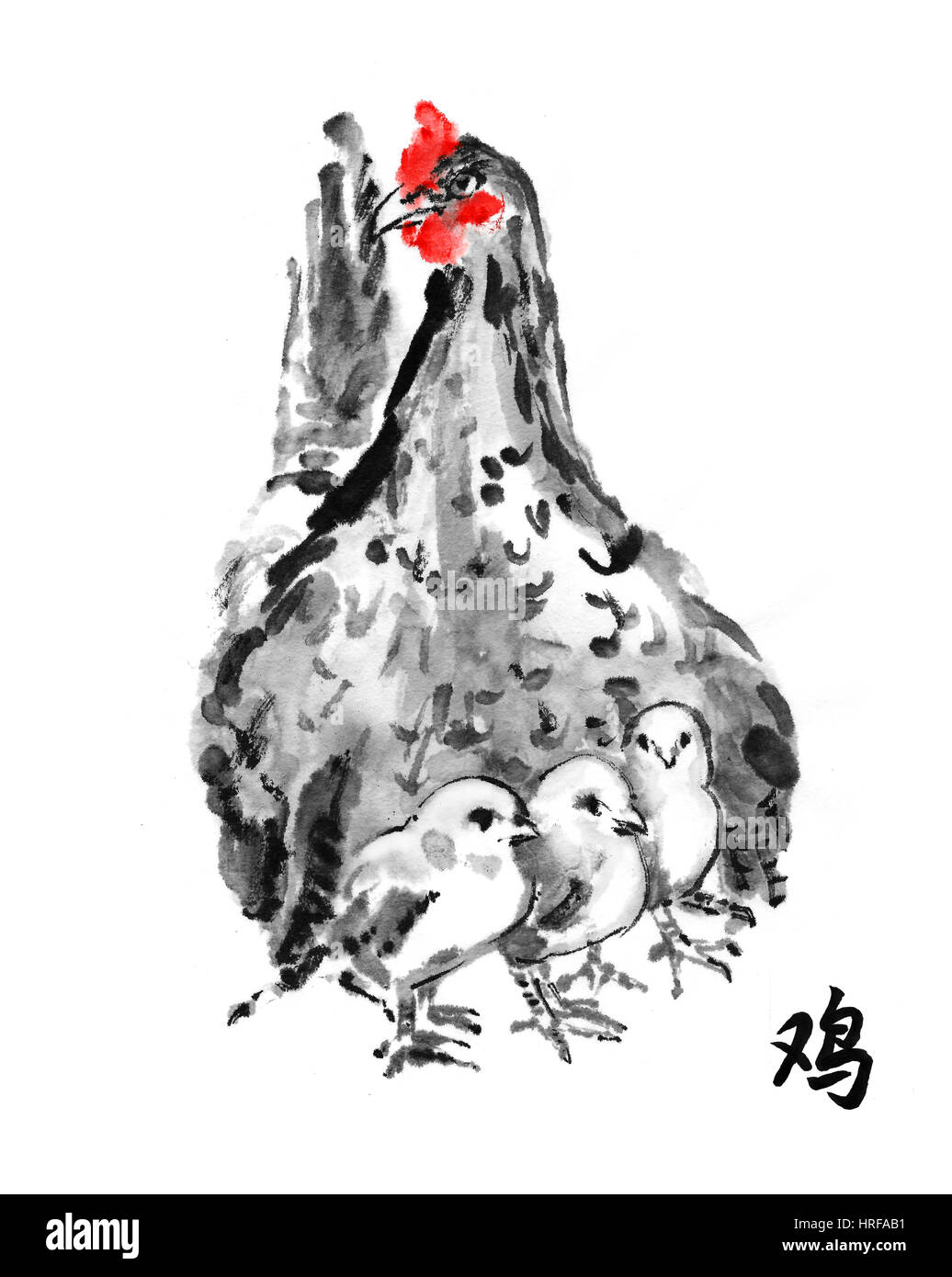 Mother Hen With Chicks Oriental Ink Painting With Hieroglyph Stock