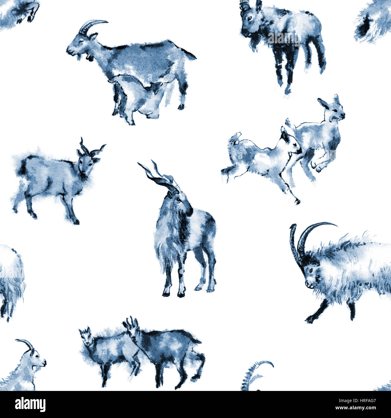 Seamless background texture with 8 images of goats, oriental ink painting, blue tone, isolated on white background. - Stock Image