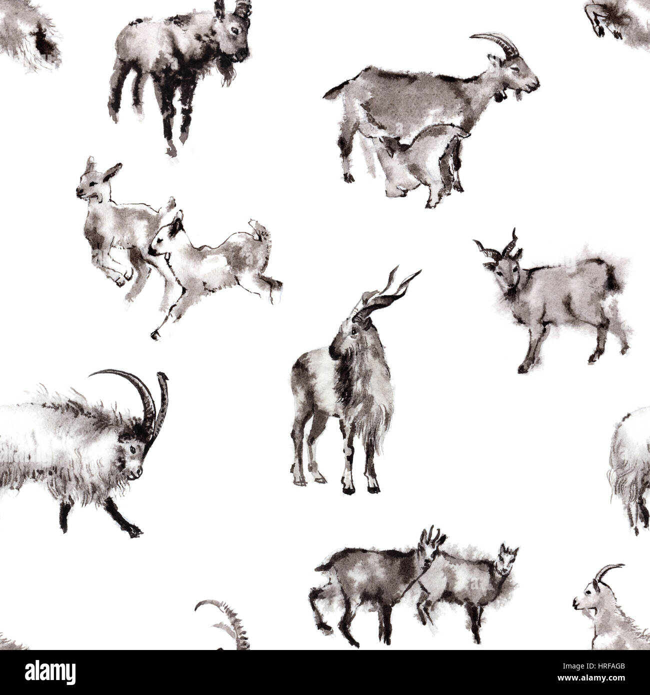 Seamless background texture with 8 images of goats, oriental ink painting, isolated on white background. Year of - Stock Image