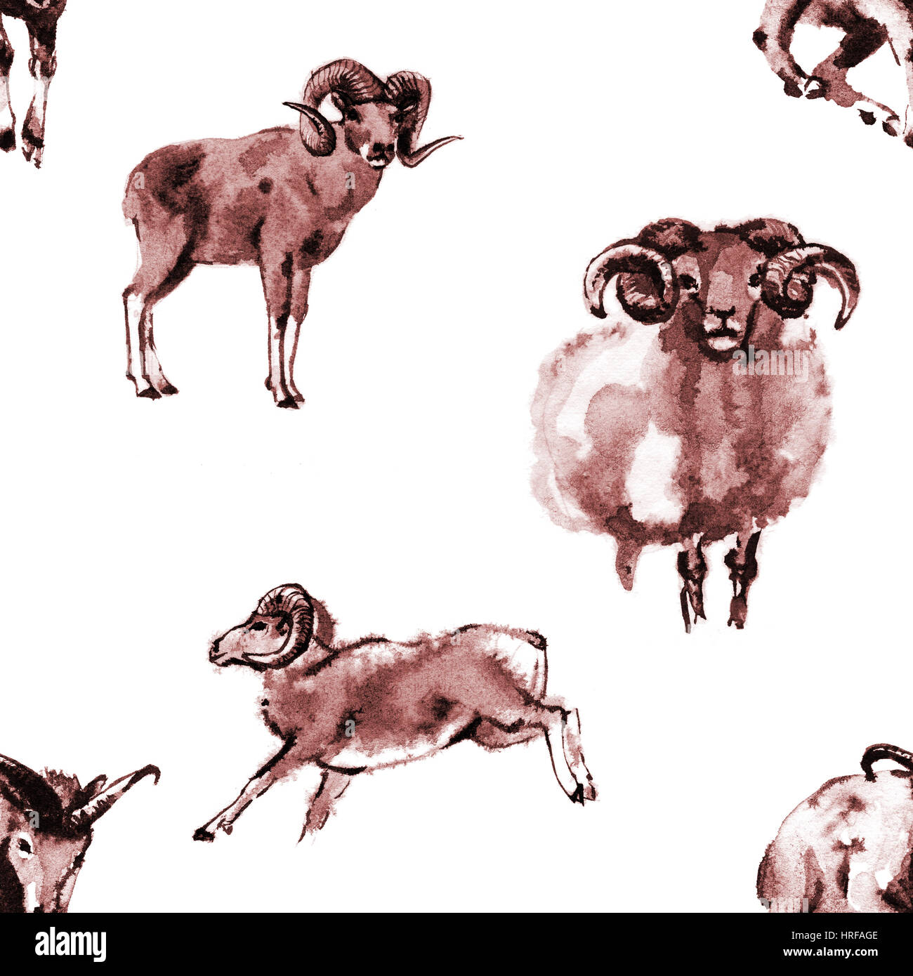 Seamless background texture with 4 images of rams, oriental ink painting, brown tone, isolated on white background. - Stock Image