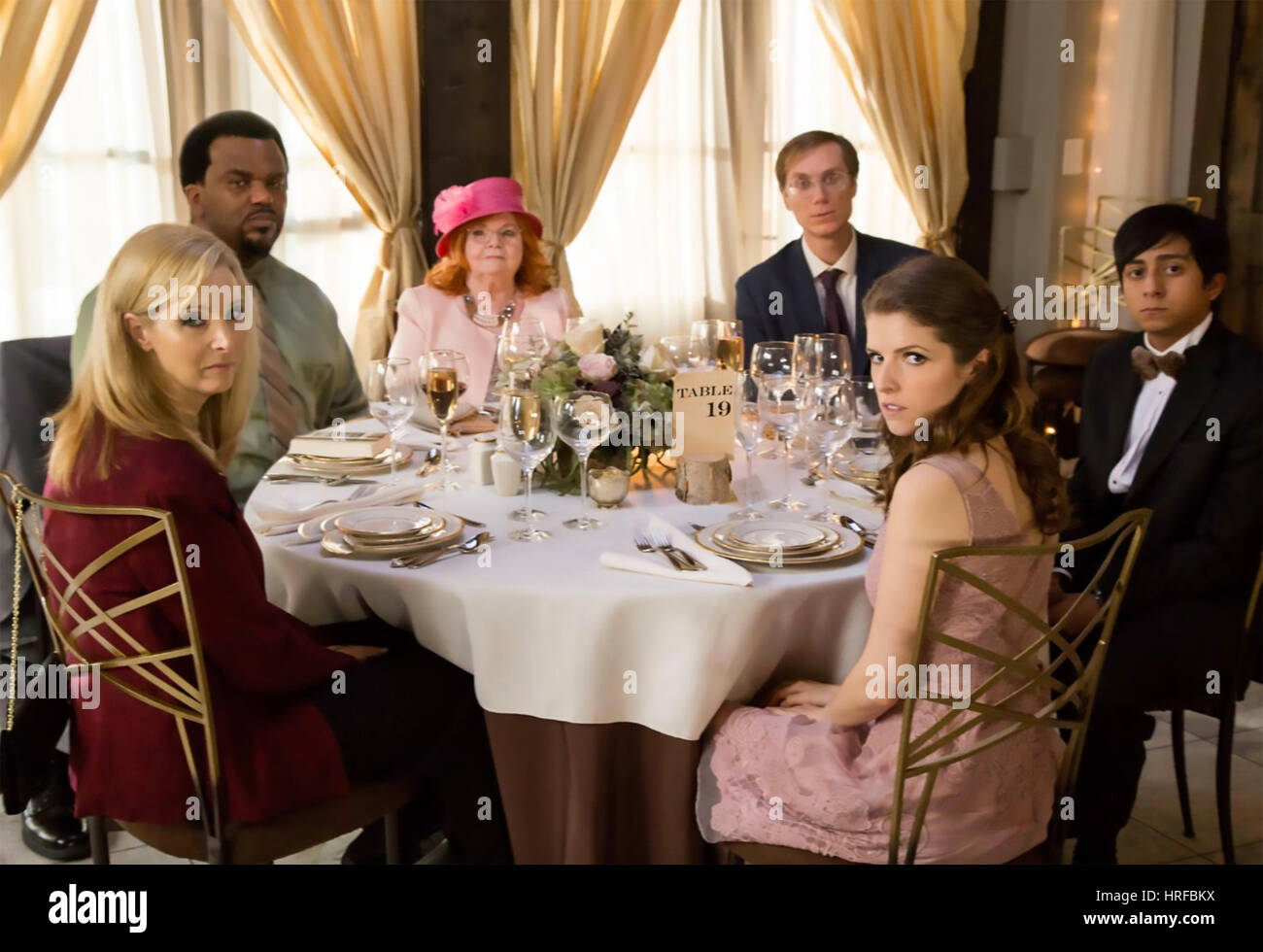 TABLE 19  Fox Searchlight Pictures 2017 film with Anna Kendrick at right and Lisa Kudrow at left - Stock Image