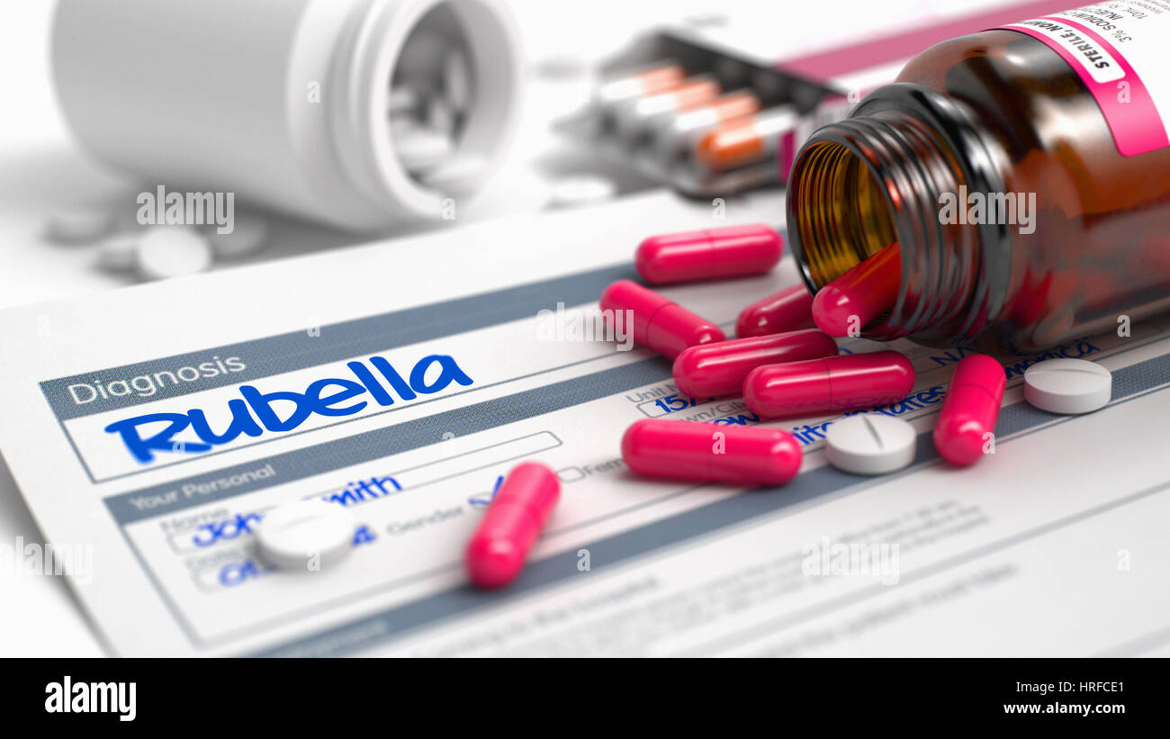 Rubella Wording in Anamnesis. Close View of Medicine Concept. Rubella - Handwritten Diagnosis in the Disease Extract. Stock Photo