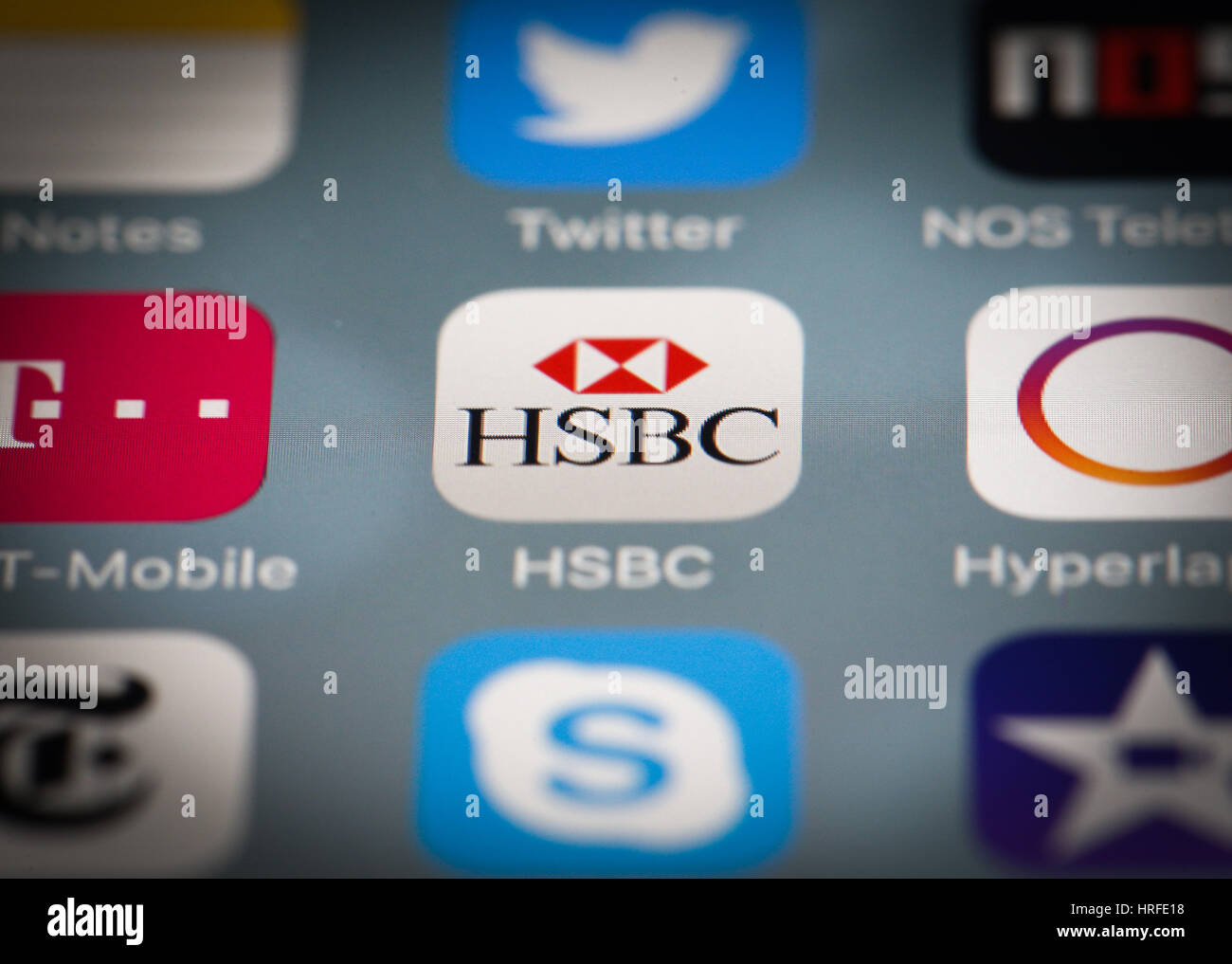 The smartphone app for HSBC banking is seen on 1 March, 2017