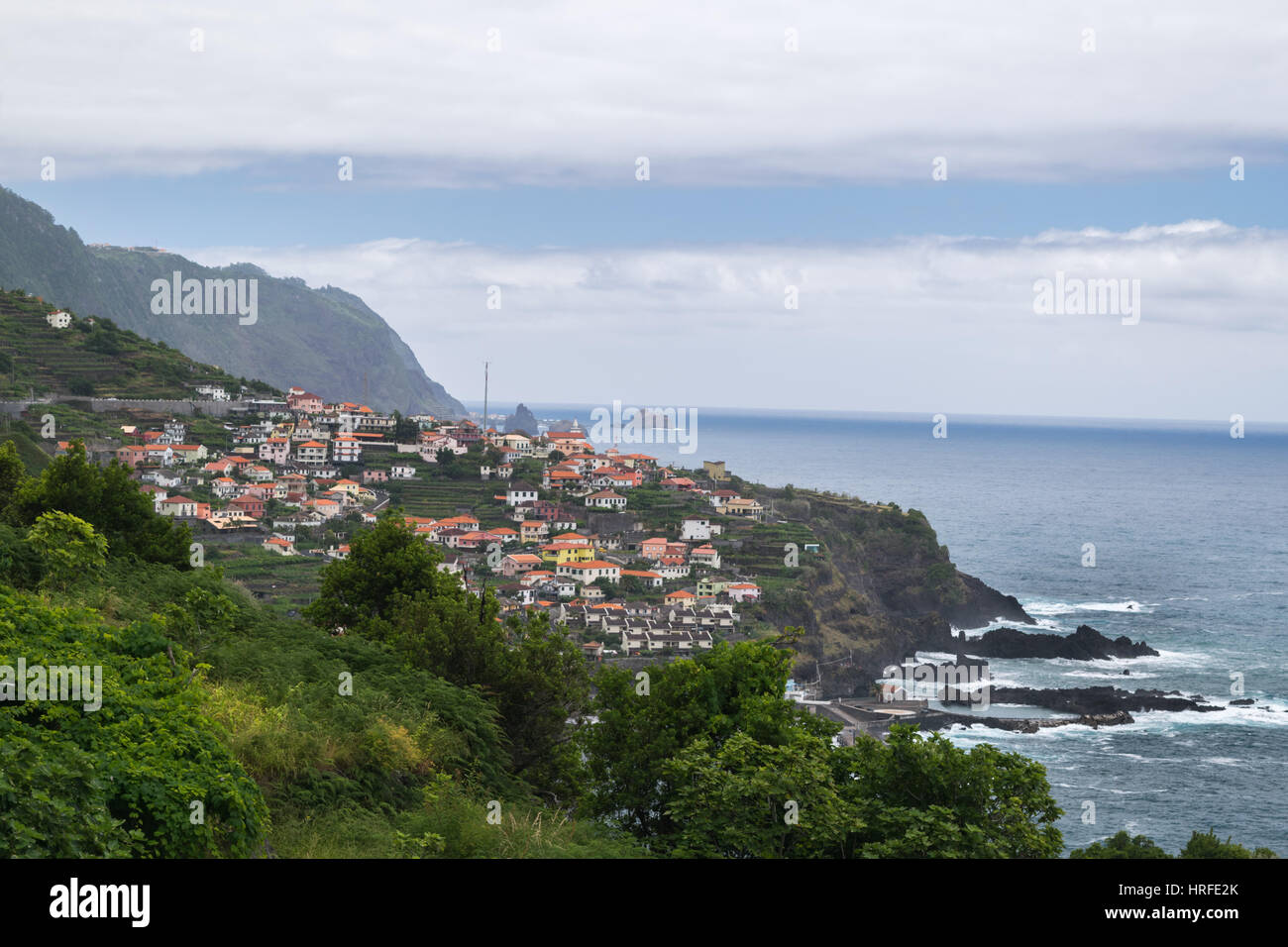 Coastline near Ponta Delgada, Madeira, Portugal, Europe Stock Photo