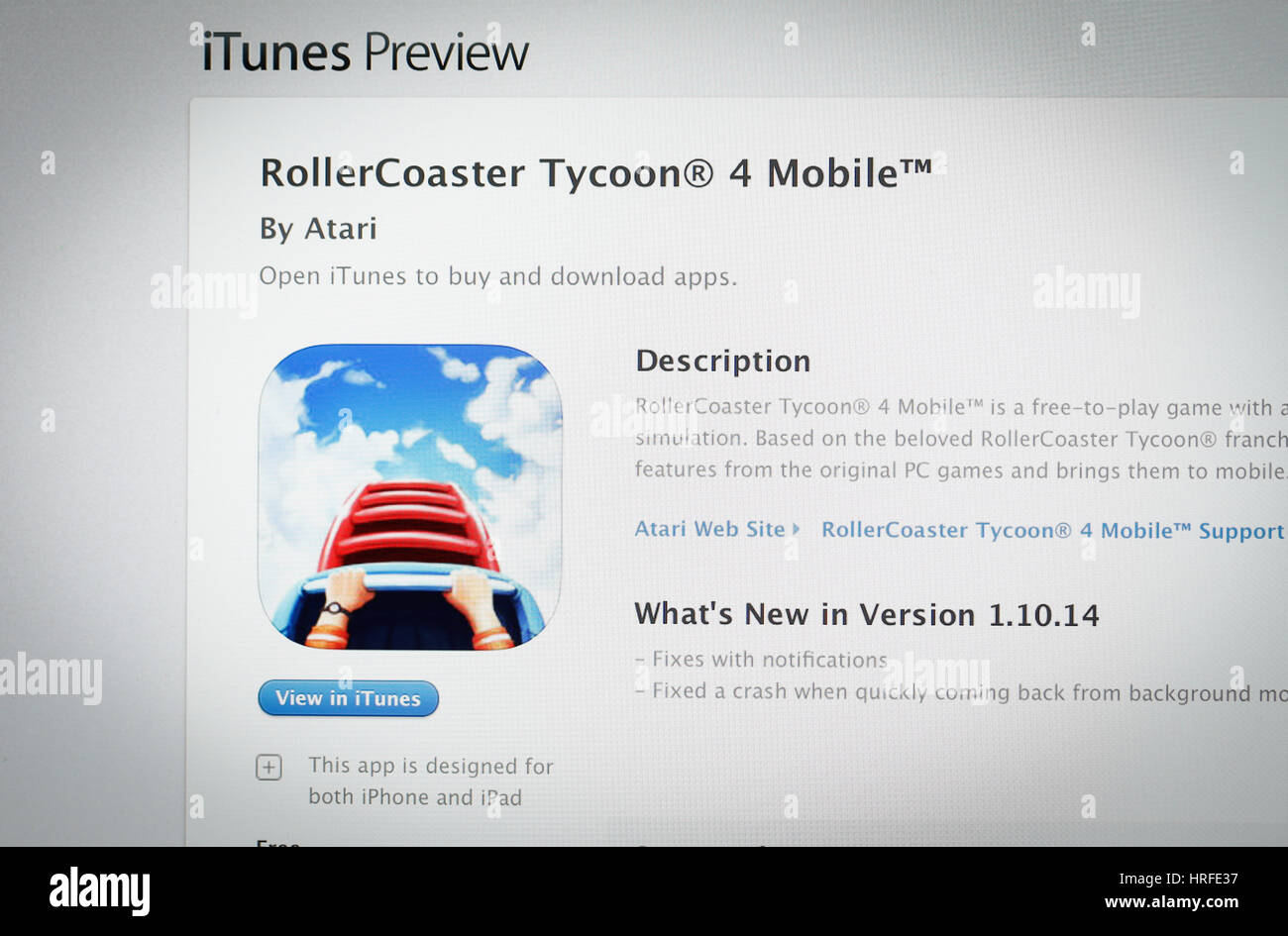 The popular RollerCoaster Tycoon game is seen in the iTunes App