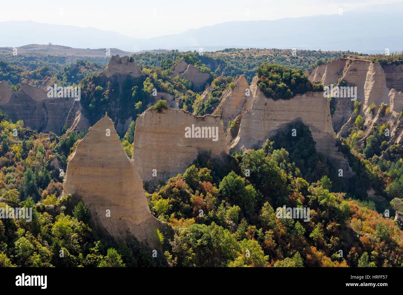 Sandstone pyramids in Melnik, Bulgaria - Stock Image