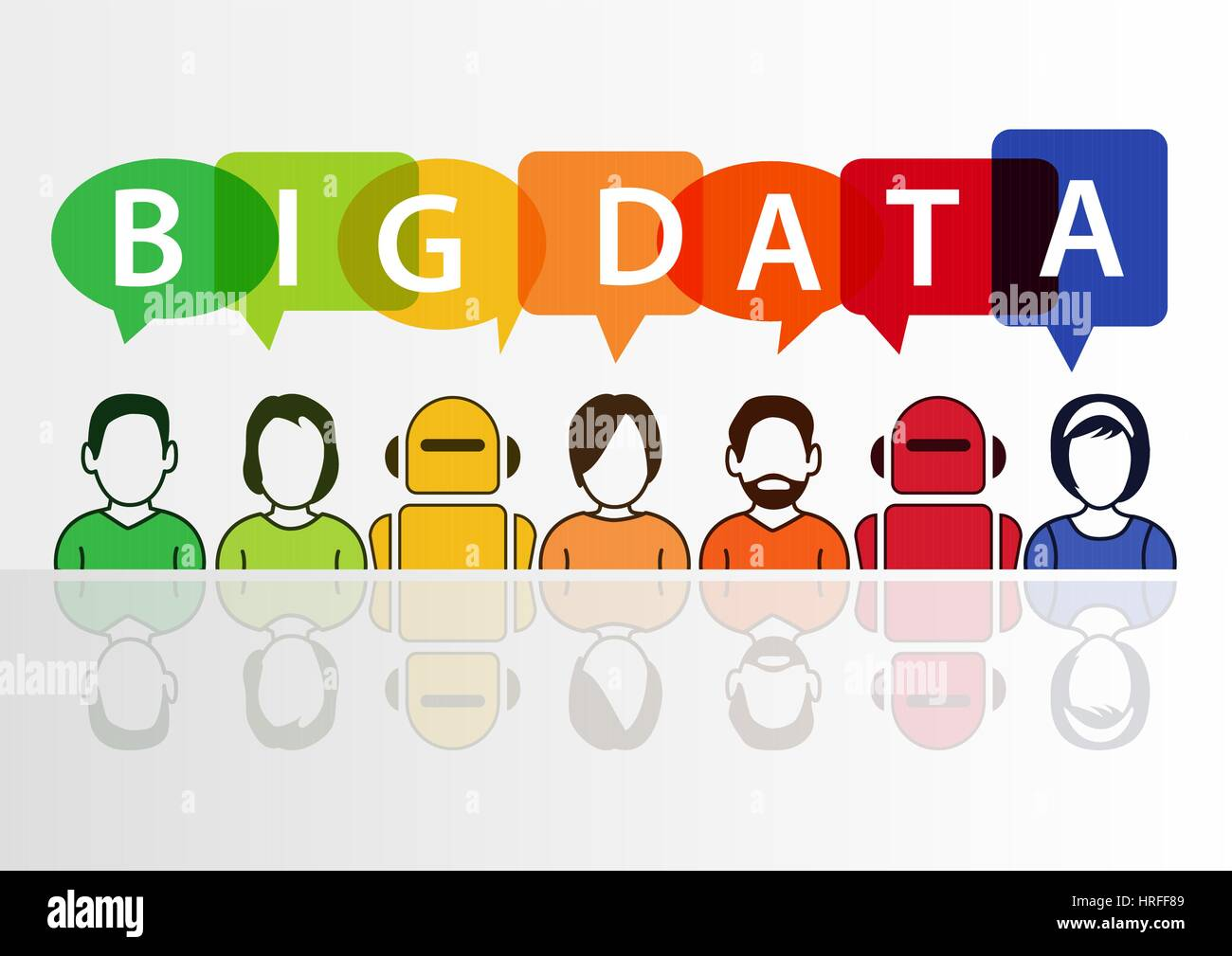 Big data text with colorful icons of people and robot working together Stock Vector